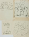 Books:Original Art, Garth Williams. Group of Four Original Preliminary Pencil Sketches for Three Bedtime Stories. Each initialed by ...
