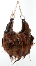 Luxury Accessories:Bags, Fendi Brown Rabbit Fur & Feather Hobo Bag. ...