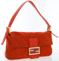 Fendi Orange Suede Baguette Bag