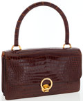 Luxury Accessories:Bags, Hermes Shiny Miel Crocodile Sac Ring Bag with Gold Hardware. ...