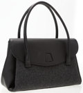 Luxury Accessories:Bags, Akris Gray Wool & Black Leather Alba Double Face Wool Bag . ...