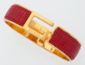 Luxury Accessories:Accessories, Gucci Red Lizard Bracelet with Gold Hardware. ...