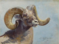 Paintings, GEORGE BROWNE (American, 1918-1958). Bighorn Ram, 1941. Oil on canvas. 12 x 16 inches (30.5 x 40.6 cm). Signed and dated...