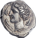 Ancients:Greek, Ancients: SICULO-PUNIC. Entella. Ca. 320-300 BC. AR tetradrachm (28mm, 13.48 gm, 3h). ...