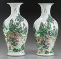Asian:Chinese, A PAIR OF CHINESE FAMILLE VERTE PORCELAIN VASES. 17-1/4 inches high(43.8 cm). ... (Total: 2 Items)