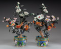Asian:Chinese, A PAIR OF CHINESE HARDSTONE TREES ON CLOISONNÉ BASES, 20th century.17 inches high (43.2 cm). ... (Total: 2 Items)