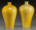 Asian:Chinese, A PAIR OF CHINESE YELLOW PORCELAIN VASES. 14 inches high (35.6 cm).... (Total: 2 Items)