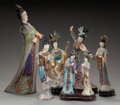 Asian:Chinese, SEVEN CHINESE CLOISONNÉ AND IVORY FIGURES WITH STANDS, early 20thcentury. 18 inches high (45.7 cm) (largest). Note: Bec... (Total: 7Items)