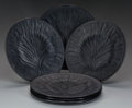 Art Glass:Lalique, A SET OF SIX LALIQUE BLACK GLASS ALGUES DINNER PLATES, post1945. Marks to all: Lalique, France. 11-1/4 inch... (Total:6 Items)