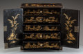 Asian:Chinese, A CHINESE GILT AND EBONIZED WOOD MINIATURE CABINET. 12-3/4 x 12 x 7inches (32.4 x 30.5 x 17.8 cm). ...