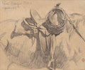 Fine Art - Work on Paper:Drawing, MAYNARD DIXON (American, 1875-1946). For Cowboy's Saddle Gear,Hill Camp, Oregon, 1901. Pencil on paper. 5-1/8 x 6-1/8 i...