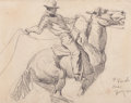 Fine Art - Work on Paper:Drawing, MAYNARD DIXON (American, 1875-1946). P. Ranch, Oregon, 1901.Pencil on paper. 4-1/2 x 5-1/2 inches (11.4 x 14.0 cm). Dat...