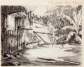 Animation Art:Production Drawing, Mickey's Man Friday Background Layout Animation Drawing(Walt Disney, 1935)....