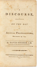 Books:Religion & Theology, Osgood, David: A DISCOURSE, DELIVERED ON THE DAY OF ANNUAL THANKSGIVING, NOVEMBER 19, 1795. Boston: 1795. 32pp, half title. ...