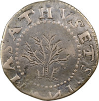 1652 SHILNG Oak Tree Shilling, IN at Bottom -- Scratches -- NGC Details. XF. Noe-11, W-510, Salmon 9-F, R.6....(PCGS# 20...