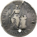 """Colonials, 1785 Inimica Tyrannis America, Confederatio, Large Circle, Silver, """"W-5632,"""" Unique -- Holed -- NGC Details. VF. ..."""