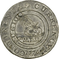 1776 $1 Continental Dollar, CURRENCY, Ornament, Pewter, Newman 5-D, Breen-1098, Hodder 4.1-B, W-8480, Low R.8. AU58 NGC...