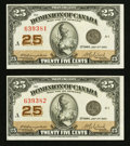 Canadian Currency: , DC-24d 25¢ 1923, Two Consecutive Examples.. ... (Total: 2 notes)