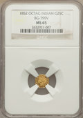 California Fractional Gold , 1852 25C Indian Octagonal 25 Cents, BG-799V, High R.7, MS65 NGC....
