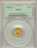 Gold Dollars, 1849-O G$1 Open Wreath MS62 PCGS. Variety 1....