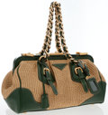 Luxury Accessories:Bags, Prada Natural Woven Straw & Green Leather Tote Bag with GoldHardware . ...