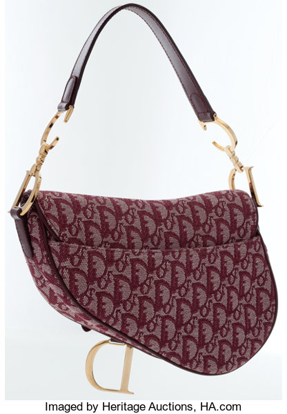 Christian Dior Red Monogram Canvas Saddle Bag with Gold Hardware ... 0436fe2c7b8a4