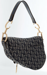 4d51c976d Luxury Accessories:Bags, Christian Dior Navy Blue Monogram Canvas Saddle Bag  with GoldHardware .