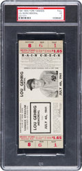 Baseball Collectibles:Tickets, 1941 Lou Gehrig Memorial Game Full Ticket, PSA VG 3....