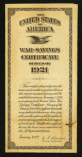 Miscellaneous:Other, U.S. War Savings Certificate- Series of 1921 . ...