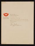 Football Collectibles:Others, 1970's Henry Jordan Signed Letter - Summerfest Letterhead....