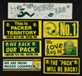Football Collectibles:Others, Circa 1960's and 70's Green Bay Packers Unused Bumper Stickers Lot of 7....