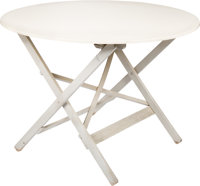 Garth Williams' Personally Owned Artist Table. Molded white plastic with wooden, folding legs. Top measures 38 inches