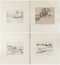 Books:Original Art, Group of Five Pen and Ink Drawings of English Landscapes. 1930s. All are matted. Various sizes; largest measures 14.25 x 15.... (Total: 5 Items)
