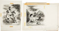 Books:Original Art, Pair of Finished Charcoal Drawings for Amigo by Byrd Baylor. Both are signed by Williams. Both are mounted t... (Total: 2 Items)