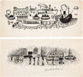 Books:Original Art, Pair of Miscellaneous Pen and Ink Illustrations. Unknown ifpublished. One is signed by the artist. Both measure roughly...