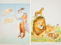 Books:Original Art, Two Finished Animal Illustrations, Together with Three Pencil Sketches. Two finished pieces are watercolor on cardstock, eac...