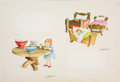Books:Original Art, Watercolor Preliminaries for Two Goldilocks Illustrations forThree Bedtime Stories. Circa 1958. Illustrations are o...