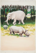 Books:Original Art, Finished Watercolor Depicting an Elephant and a Rhinoceros. Unknownif published. Measures 15 x 22 inches. Some production n...