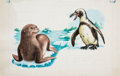 Books:Original Art, Finished Watercolor Depicting A Penguin and a Seal. Unknown if published. Initialed by Williams, with a charming note unde... (Total: 5 Items)