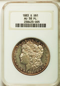 Morgan Dollars: , 1883-S $1 AU58 Prooflike NGC. NGC Census: (12/44). PCGS Population (0/23). Numismedia Wsl. Price for problem free NGC/PCGS...