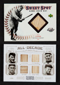"Baseball Cards:Singles (1970-Now), 2001 UD Sweet Spot and 2012 National Treasures ""All Decade"" Quad Game Used Bat Card Pair (2). ..."