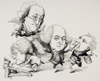 """[Original Art]. [Cartoons]. Mike Ramus. Original Pen and Ink Drawing Entitled, """"Founding Fathers"""". Published i..."""