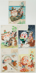 Books:Original Art, Group of Five Miscellaneous Watercolor Illustrations. Each islabeled with a month of the year (possibly a calendar) and is ...(Total: 5 Items)