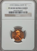 Proof Lincoln Cents, 1970-S 1C Small Date PR68 Red Ultra Cameo NGC. NGC Census: (10/3). PCGS Population (22/1). Numismedia Wsl. Price for probl...
