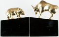 Books:Furniture & Accessories, [Bookends, Stock Market]. Matching Pair of Solid Brass Bull andBear Bookends. Ca. 1990s. Figures are solid brass and mounte...(Total: 2 Items)