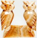 """Books:Furniture & Accessories, . [Bookends]. Matching Pair of Onyx Hand-Carved Owls. Ca. 1970s.Labeled on bottoms, """"Made in Mexico"""". Each measures 6.25"""" t...(Total: 2 Items)"""
