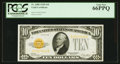 Small Size:Gold Certificates, Fr. 2400 $10 1928 Gold Certificate. PCGS Gem New 66PPQ.. ...