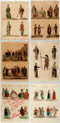 Books:Prints & Leaves, Six Antique Engravings Depicting Various Costumes. [n.d., ca. nineteenth century]. Measure 6.75 x 9.25 inches. All are encas...