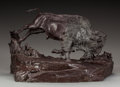 Sculpture, EDWARD FRAUGHTON (American, 1939). Buffalo Chasing a Bunny, 2000. Bronze with brown patina. 11-1/2 inches (29.2 cm) high...
