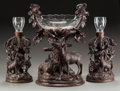 Decorative Arts, Continental:Other , A THREE-PIECE BLACK FOREST CARVED WOOD AND GLASS TABLE GARNITURE,19th century. 21-1/4 x 16-1/2 x 9-1/2 inches (54.0 x 41.9 ...(Total: 3 Items)